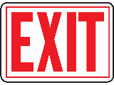 Sign 10 x 14 Aluminum Red-on-White: Exit