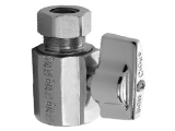 Quarter Turn Straight Water Supply Valve, 3/8 In Comp x 1/2 FPT
