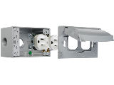 Weatherproof 1 Gang Duplex Outlet Kit, Nickel