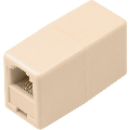 6 Wire Telephone Line Cord Coupler, Ivory