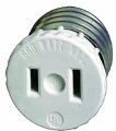 Light Socket To Single Outlet Adapter, Ivory