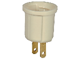 Single Outlet To Medium Base Socket Adapter, Ivory