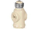 Light Socket To 2 Outlet Plug Adapter, Ivory