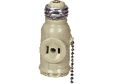 Light Socket To 2 Outlet Plug Adapter With Pull Chain, Ivory