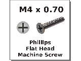 M4 x 0.70 Flat Phillips Machine Screws