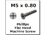 M5 x 0.80 Flat Phillips Machine Screws