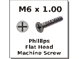 M6 x 1.00 Flat Phillips Machine Screws