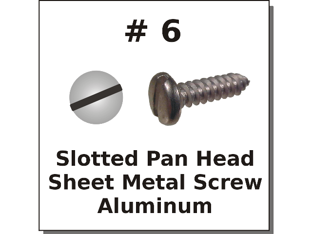 #6 Pan Head Slotted Sheet Metal Screw Aluminum