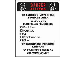 Sign 15 x 19 Plastic Bilingual: Hazard Materials