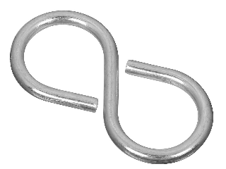 Closed S Hook #811, 1-1/4 In Zinc Plated 5 Pack