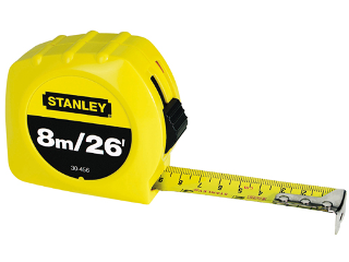 Retractable Measuring Tape, 1 In X 8 m
