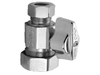 Quarter Turn Straight Water Supply Valve, 3/8 In Comp x 1/2 In Comp
