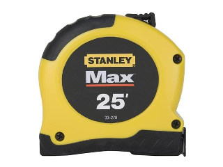 Max Retractable Measuring Tape, 1-1/8 In X 25 Ft