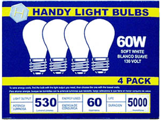 Long Life Soft White Bulb 60 Watt, 4 Pack
