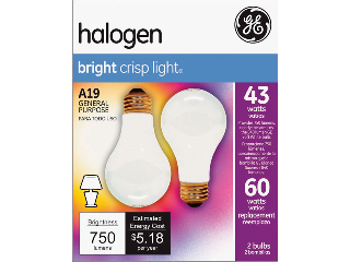 Halogen Bright Crisp Light Bulb 43 Watt, 2 Pack