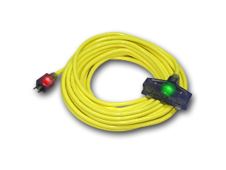 Yellow ProGlo SJTW 10/3 Tri Tap Extension Cord (Lengths)