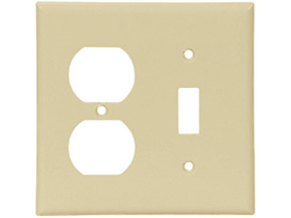 Ivory Switch And Duplex Receptacle Combination Plate, 2 Gang