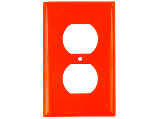 Orange Duplex Receptacle Plate, 1 Gang