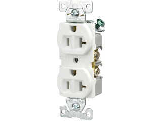 Commercial Back Wire Duplex Receptacle, 20 Amp  White