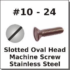 10-24 Oval Slot Machine Screws Stainless Steel